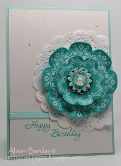 handmade card ... Floral Frames and Daydream Medallions in turquoise with white embossing ... matted with doily ... like this card ,,, Stampin' Up!