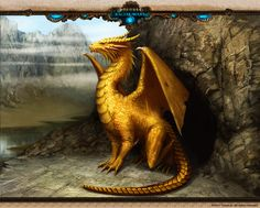 Racial Wars: Golden Dragon by Sandra Duchiewicz (Telthona) Yellow Dragon, White Dragon, Gold Dragon, Magical Creatures, Fantasy Creatures, Dragon Pictures, Dragon Pics, Dragon Images, Dragon Artwork