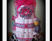 Zebra Print Baby Girl Diaper Cake-Perfect For Safari Themed Showers. Discount Available