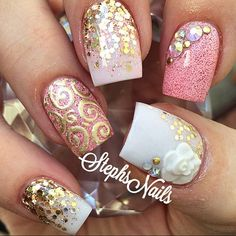 Cute nail art idea for short square shaped nails Great Nails, Cute Nail Art, Fabulous Nails, Beautiful Nail Art, Gorgeous Nails, Love Nails, 3d Nails, Acrylic Nails, French Nails Glitter