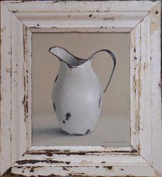 Diane McLean White pitcher oil on board, 350 x 305 mm. Drywall Repair, Stencil, Still Life Oil Painting, South African Artists, Pallet Art, Old Doors, Still Life Photography, Pictures To Paint, Painting Inspiration