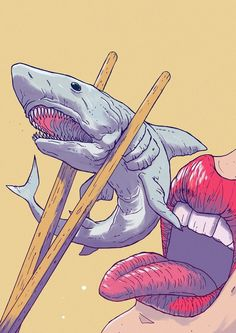 Illustration on Inspirationde Art Pop, Tak Tak, Shark Art, Wow Art, Grafik Design, Illustrations And Posters, Psychedelic Art, Oeuvre D'art, Art Inspo