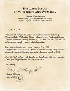 Invitations as advertisements for the Harry Potter Birthday Bash