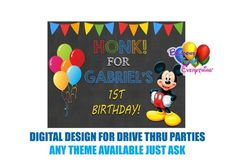 Mickey Mouse Drive Thru Parties Honk Poster Digital Design Mickey Mouse Balloons, Mickey Mouse Cupcakes, Baby Mickey Mouse, Disney Mickey, Mickey Mouse Party Supplies, Mickey Mouse Birthday Invitations, Mickey Birthday, Dinosaur Birthday, Dinosaur Party