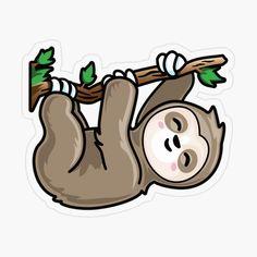 ' Kawaii Cute Climbing Sloth' Sticker by Pablo © Cute Cartoon Drawings, Cute Kawaii Drawings, Kawaii Art, Cute Kawaii Animals, Cute Little Animals, Cute Sloth Pictures, Sloth Drawing, Sloth Tattoo, Cute Baby Sloths