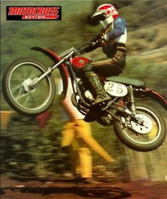 """Sue """"Flying"""" Fish, 1970s Southern California motocross star, shown here racing on a 100cc Hodaka. She was the 1976 and 1977 National Women's Motocross Champion."""