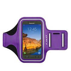 Galaxy S7 Active Armband, J&D Sports Armband for Samsung Galaxy S7 Active, Key holder Slot, Perfect Earphone Connection while Workout Running - Purple