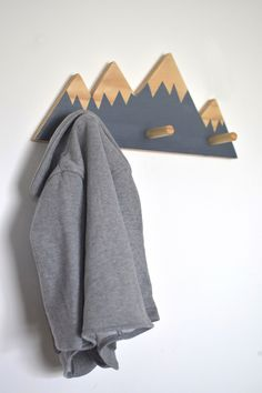 Wall Hooks For Kids bedroom or baby nursery - Mountain Peak Wall Hanger Wall Hanger, Wall Hooks, Baby Boy Nurseries, Babies Nursery, Woodland Nursery Decor, Boy Room, Kids Bedroom, Diy Furniture, New Baby Products
