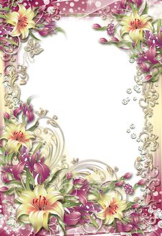 Transparent PNG Photo Frame with Yellow Flowers Frame Background, Paper Background, Boarders And Frames, Purple Lily, Printable Frames, Birthday Frames, Borders For Paper, Paper Frames, Floral Border