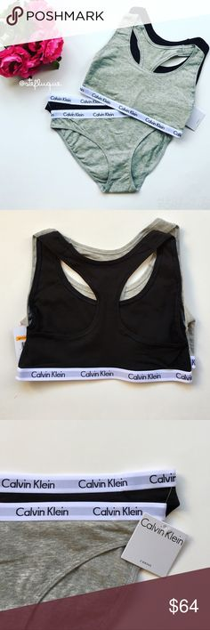 "CK Bralette and Panty Set Pre made Bundle includes: Calvin Klein bralette/sports bra set in grey and black and matching set of CK bikini style panties. Smaller 1/2"" logo band. Super cute and soft! Celeb favorite. Will also bundle with other CK bralettes and panties in my closet for a discount 👍🏻 Reasonable offers can be made using offer button 😊 Matching panties also available in S and L.  Condition: Brand new, never worn.  🚫Trades  Please ask any questions prior to purchasing. All sales…"