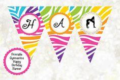 Gymnastics Digital Birthday Banner DIY by OTPartyPrintables