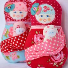 Scandinavian Matryoshka Mama  Doll  - Fru Sommer - and her baby in a sling inspired by attachement parenting. $40.00, via Etsy.