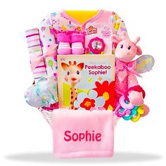 Giraffe's All- New Baby Girl Personalized Gift Basket Price: $79.00 #GiftBaskets4Baby #Girl #gifts #giftbaskets #Baby For more information visit: www.GiftBaskets4Baby.com