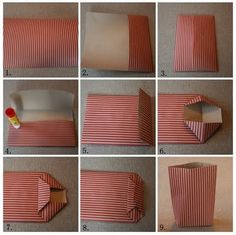 How to fold a paper bag - Annas Jul: Vika papperspåse Hand Crafts For Kids, Diy And Crafts, Paper Crafts, Diy Bag Gift, Diy Gifts, Origami, Diy Paper Bag, Gift Wraping, Christmas Interiors