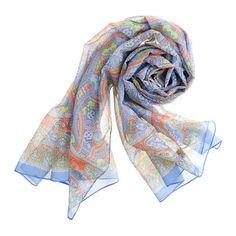 Drakes London® paisley scarf (in sky lime orange)