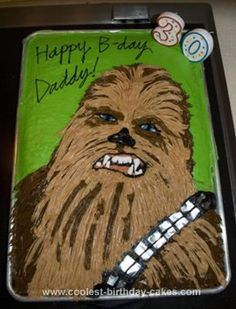 Homemade Chewbacca Cake: This Chewbacca Cake is the funnest cake I ever made! I used a Wilton hair/grass tip and looked at a photo of Chewie that I printed off of the internet.