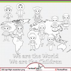 Children around the World Digital Stamp clipart World image 1 Around The World Theme, Kids Around The World, We Are The World, Around The Worlds, New Year Coloring Pages, Conception Web, Cultural Crafts, Girl Scout Activities, Map Background