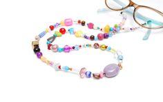 RandomJane short glasses chain colorful beaded hippie boho random style summer accessory for kids, eye and sun glasses made in Vienna by Aerosvar