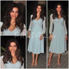 Deepika Padukone in a powder blue Burberry dress that she styled with a pair of nude Louboutins and a matching Saint Laurent sling.