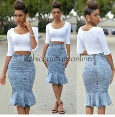 Crop top & peplum pencil skirt