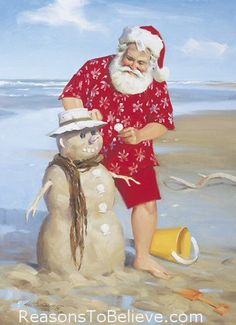 """'Shoreline Fun"""" Boxed Christmas Cards by Tom Browning depicts Santa at the beach building a sand snowman. Tropical Christmas, Beach Christmas, Coastal Christmas, Father Christmas, Christmas In July, Christmas Pictures, Holiday Fun, Vintage Christmas, Christmas Cards"""