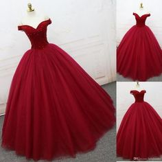 Appliques Red Ball Gown Prom Dress, Elegant Off