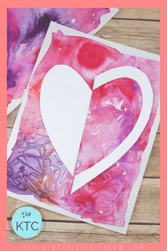 Explore the Japanese concept of Notan with this cut paper heart art project! Watercolor Heart, Easy Watercolor, Watercolor Cards, Watercolor Background, Art Activities For Kids, Art For Kids, Kids Crafts, Cut Paper, Paper Art