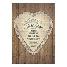"rustic country wood lace & burlap bridal shower 5"" x 7"" invitation card"