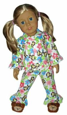 Tropical Monkey Flannel Pajamas and Slippers. Doll Clothes Fit American Girl…