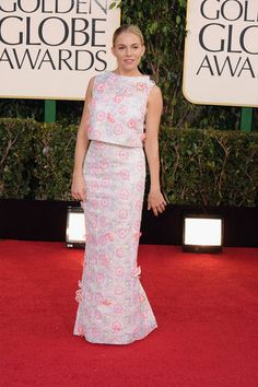 Sienna Miller in a custom Erdem gown on the Golden Globes Red Carpet 2013