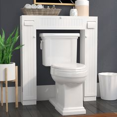 Enhance the look of your bathroom with the Free Standing Over the Toilet Storage. It has a white finish that lends a gorgeous touch to the decor. This toilet cabinet is constructed from engineered wood that makes it sturdy and long lasting. It has doors that are designed in bead board style for added beauty and looks. The toilet cabinet has two paper holders, one fixed shelf, and two adjustable shelves that are inside each side cabinet for storage. It has pull-down door at the centre for…