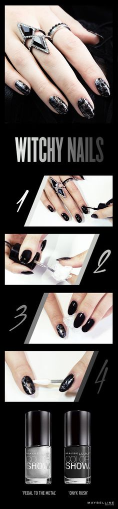1) Apply 2 coats of Color Show in 'Onyx Rush' to each nail. 2) Crinkle plastic wrap it into a ball. Apply Color Show in 'Pedal to the Medal' to one end of the wrap. 3) Dab each nail with the lacquer-painted edge of the plastic wrap 1-2 times. 4) Clean up smudges and remove extra polish with a pointed cotton swab.