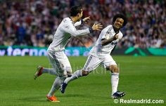 Athletic Club 0-3 Real Madrid : Christiano Ronaldao CR7 celebrates with Marcelo after scoring.. Hala Madrid!!!