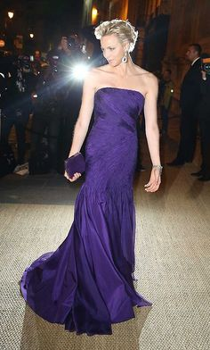 October 2013: Stealing the show in a Princess Diana-inspired indigo dress and matching lilac diamond earrings at the Ralph Lauren Collection private dinner. Photo: Getty Images