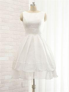 Cute Ivory Taffeta Straps A-Line with Bow at back Organza Hem Short Prom Dress
