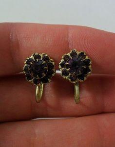 Coro Purple Rhinestone Earrings by onetime on Etsy, $4.25