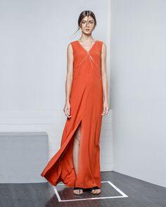 Minimalist Maxi Dress With Slit, Zalora