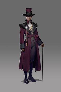 Steampunk Fashion - Crimson Coat by Siwoo Kim Fantasy Character Design, Character Design Inspiration, Character Concept, Character Art, Arte Steampunk, Victorian Steampunk, Steampunk Fashion, Steampunk Characters, Dnd Characters