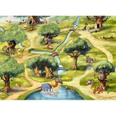 Fototapet Winnie the Pooh, fototapet cu desene animate, tapet copii Forest Wallpaper, Wood Wallpaper, Photo Wallpaper, Wallpaper Roll, Wallpaper Stickers, Disney Wallpaper, Disney Wall Murals, Kids Wall Murals, Murals For Kids