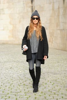 Perfect way to wear over knee boots - with loose knits and skinny jeans.