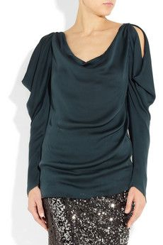 Lanvin  Draped open-shoulder silk top  $2185.  No kind of practical but tres chic.
