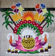 Indian Rangoli Designs, Rangoli Border Designs, Rangoli Designs Images, Beautiful Rangoli Designs, Rangoli Borders, Rangoli Patterns, Rangoli Ideas, Lotus Rangoli, Diwali Rangoli