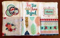 A personal favorite from my Etsy shop https://www.etsy.com/listing/384572718/baby-burp-cloth-set-girls-burp-cloths