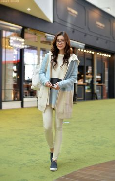 Styleonme - Hooded Open Front Two Tone Long Cardigan #cardigan…
