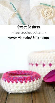 Make these sweet crochet baskets with Lion Brand Hometown USA! They make great catchalls for jewelry, hair ties, or just about anything!