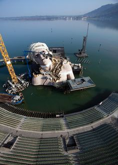"""full aerial view of the theatre during construction of the set""-andre chenier, opera on the lake floating stage, bregenz opera festival, bregenz, austria"