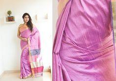 Silk Sarees - Lilac hand woven Raw silk Zari saree with multi hued pallu PC 16643 - Main