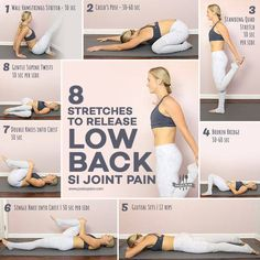 8 Stretches To Release Low Back SI Joint Pain – – Gesundheit - Yoga Fitness Workouts, Yoga Fitness, Fitness Motivation, Health Fitness, Physical Fitness, Easy Fitness, Fitness Memes, Fitness Logo, Fitness Diet