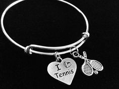 I Love Tennis Heart with Rackets Expandable Silver Charm Bracelet -- See this great image  : Handmade Gifts