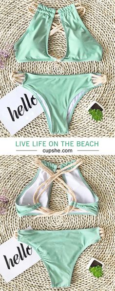Live life on the beach~Lower price & high-quality. Fresh color can always bring people good emotions. Try this bikini on and keep yourself a good mood. Tap this photo and find this surprise at Cupshe.com